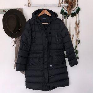Lands end black long puffer jacket size S